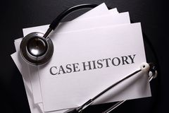 Case history and stethoscope Royalty Free Stock Photography