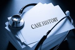 Case history and stethoscope Royalty Free Stock Image