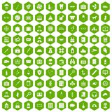 100 case icons hexagon green. 100 case icons set in green hexagon isolated vector illustration Stock Photography