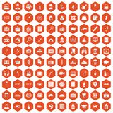 100 case icons hexagon orange Stock Photography