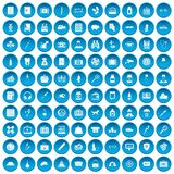 100 case icons set blue. 100 case icons set in blue circle isolated on white vector illustration Stock Illustration