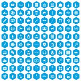 100 case icons set blue. 100 case icons set in blue hexagon isolated vector illustration Stock Illustration