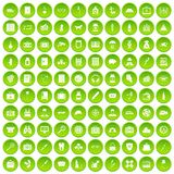 100 case icons set green circle. Isolated on white background vector illustration Vector Illustration