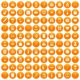 100 case icons set orange. 100 case icons set in orange circle isolated on white vector illustration royalty free illustration