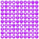 100 case icons set purple. 100 case icons set in purple circle isolated on white vector illustration Royalty Free Stock Photography