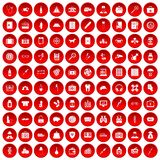 100 case icons set red. 100 case icons set in red circle isolated on white vector illustration Royalty Free Stock Photos