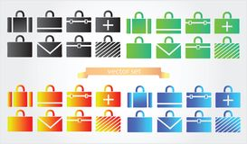 Case icons variants of briefcase Stock Photography