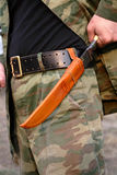 Case-knife made in Uzbekistan. Knife on a belt of the man Stock Photo