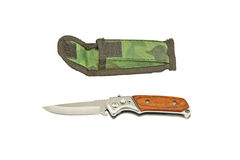 Case knife and pouch Stock Image