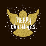 Case la silueta de la Navidad de un ángel de la Navidad con las letras únicas Elemento dibujado mano del diseño para el día de fi ilustración del vector