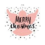 Case la silueta de la Navidad de un ángel de la Navidad con las letras únicas Elemento dibujado mano del diseño para el día de fi stock de ilustración