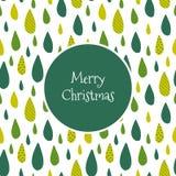 Case la tarjeta de Navidad con descensos verdes ilustración del vector
