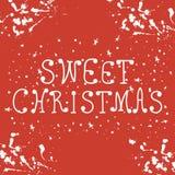 Case la tarjeta de Navidad con las letras dibujadas mano Ilustración del vector para su agua dulce de design ilustración del vector