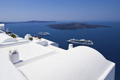 Case lavate bianche di Santorini fotografia stock