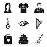 Case los iconos fijados, estilo simple ilustración del vector