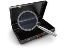 Case and magnify glass. 3d illustration of opened case and magnify glass Royalty Free Stock Images
