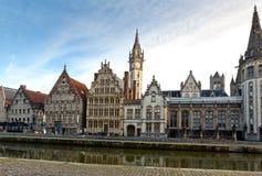 Case mercantili medievali a Gand, Belgio fotografia stock