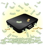Case and money. On a white background a big black suitcase with money Royalty Free Stock Photography