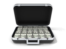 Case and money. Black case and money (done in 3d, cgi royalty free illustration
