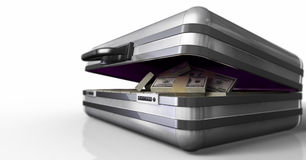 Case with money. And code success on white background Stock Photo