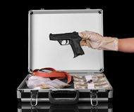 Case with money and drugs Stock Photography