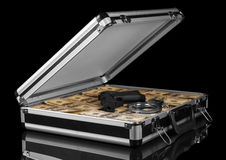 Case with money and gun Stock Images