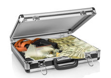 Case with money, gun and drugs Royalty Free Stock Photos