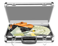 Case with money, guns and drugs isolated on white. Royalty Free Stock Photo