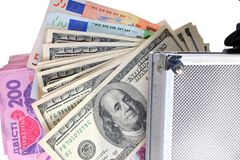 Case with money on an isolated Royalty Free Stock Photo