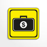 Case with money. Vector icon. Black-and-white object on a yellow background. Stock Image