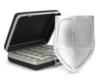 Case with money on white background Royalty Free Stock Image
