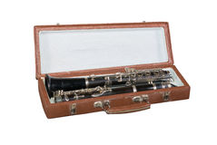 Case with an old clarinet Royalty Free Stock Image