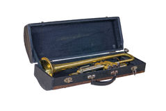 Case with an old trumpet Royalty Free Stock Photo