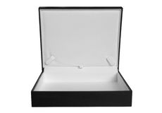 Case. Opened leather case isolated over white. Clipping path included Royalty Free Stock Image
