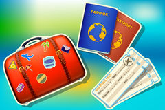 Case passport and tickets Royalty Free Stock Images
