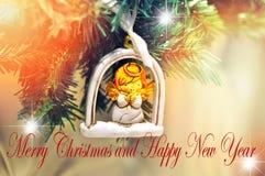 Case projeto para seu cartão de cumprimentos, insetos do fundo do Natal e do ano novo feliz, convite, cartazes, folheto, bandeira Fotos de Stock Royalty Free