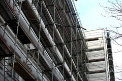Steel scaffolding used for façade renovation works. royalty free stock images