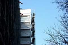 Steel scaffolding used for façade renovation works. stock photography