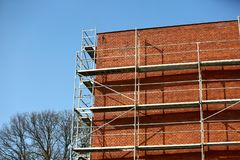 Steel scaffolding used for façade renovation works. royalty free stock image