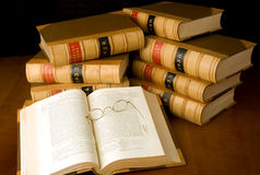Case Reports. Old law case reports and vintage spectacles Stock Photography
