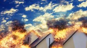Case residenziali su fuoco Fotografia Stock Libera da Diritti