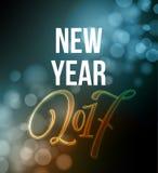 Case a rotulação 2017 do Natal e do ano novo feliz Ilustração do vetor do Natal com bokeh realístico, luzes ilustração do vetor
