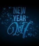 Case a rotulação 2017 do Natal e do ano novo feliz vector a ilustração com bokeh realístico, fundo das luzes ilustração stock