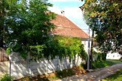 Case rurali tipiche del contadino e del paesaggio nel villaggio TicuÅŸu Vechi, Deutsch-Tekes, la Transilvania, Romania Fotografia Stock Libera da Diritti