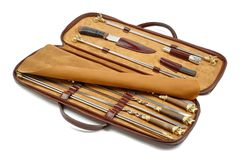 Case with set of skewers for barbecue Stock Photo