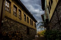 Case storiche in Cumalikizik, città di Bursa, Turchia fotografie stock libere da diritti