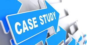 Case Study on Blue Arrow. Case Study on Blue Arrow on a Grey Background Royalty Free Stock Image