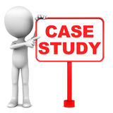 Case study. Business case study concept, little man pointing to banner text in red stock illustration