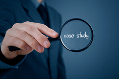 Case study. Businessman focused on case study. Businessman enlarge handwritten text case study Royalty Free Stock Photo