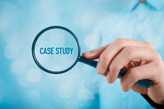 Case study. Businessman focused on case study. Businessman enlarge handwritten text case study stock illustration